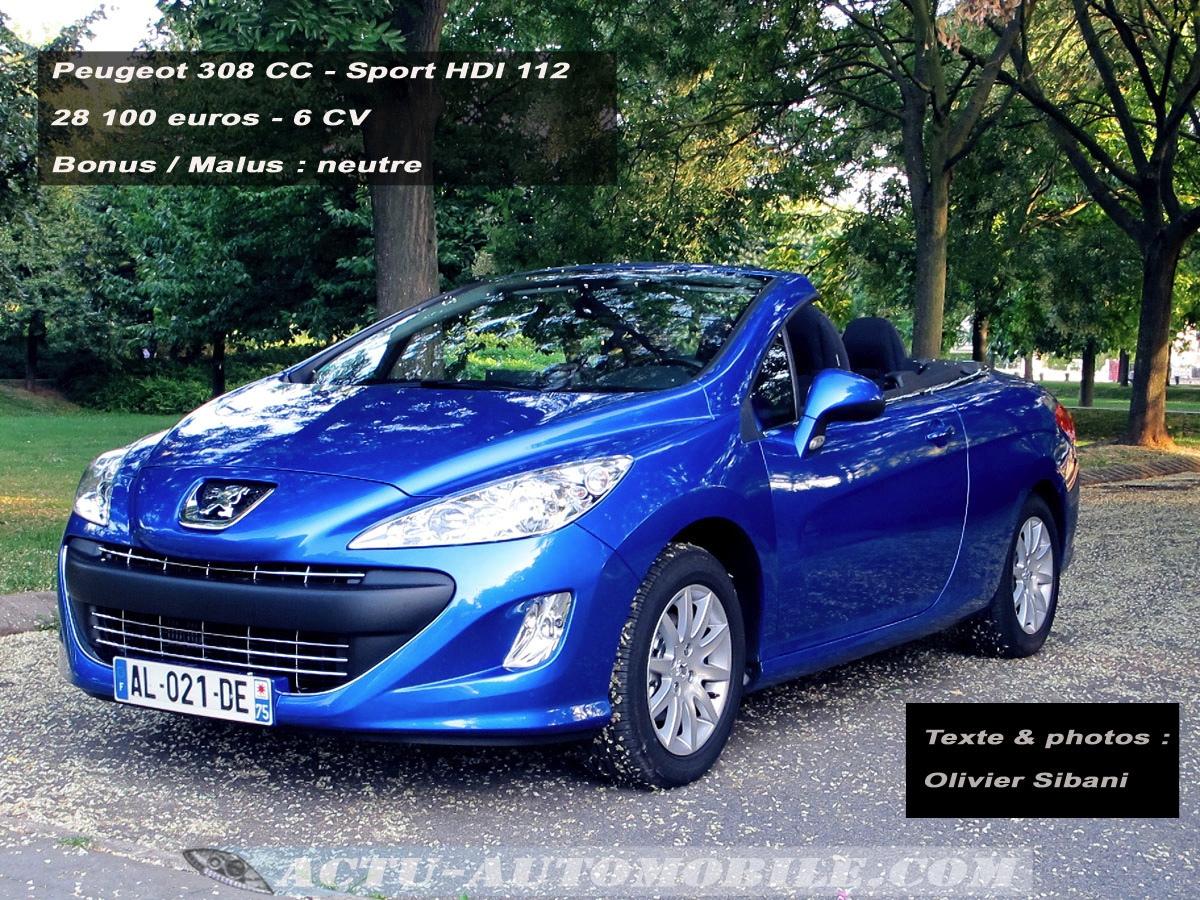 Essai Peugeot 308 CC SPORT 1.6 HDI 112 : conclusion ...