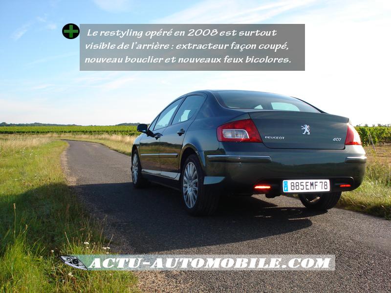 Peugeot 407 restylée vue arrière