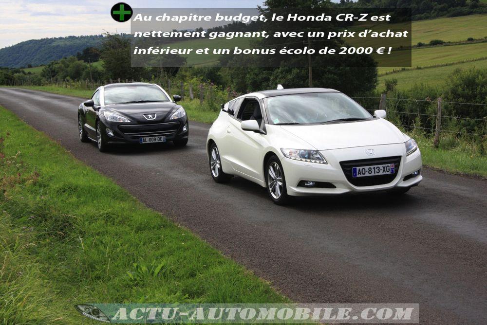 Face à face Peugeot RCZ Honda CR-Z