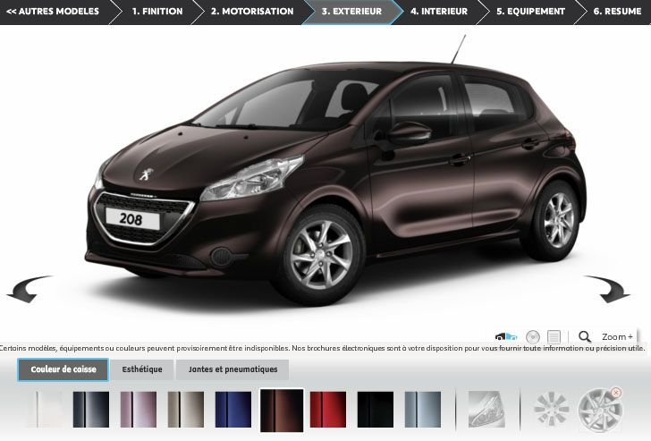 visite du configurateur peugeot 208 actu automobile. Black Bedroom Furniture Sets. Home Design Ideas