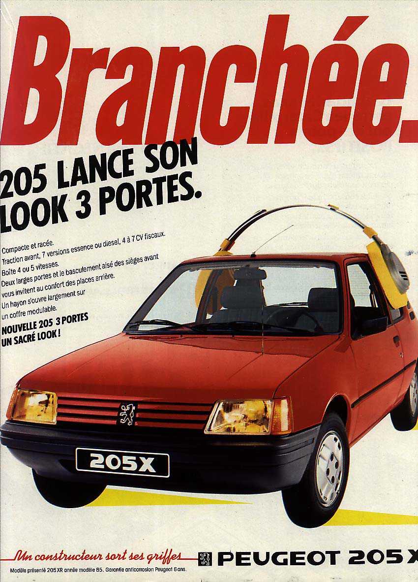 Publicité Peugeot 205