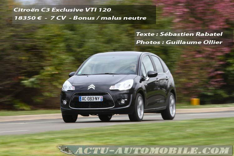 Essai Citroën C3 Exclusive VTI 120
