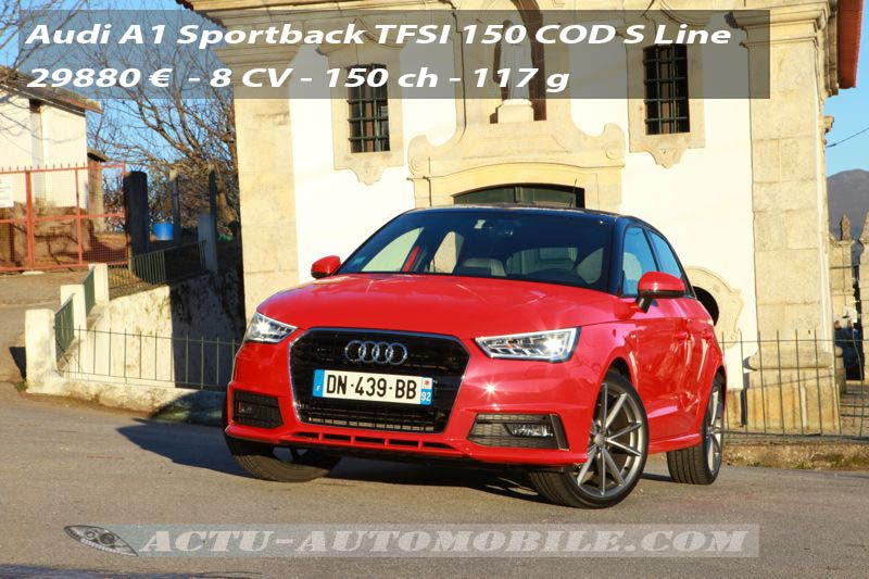 essai audi a1 sportback restyl e 1 4 tfsi 150 cod s line actu automobile. Black Bedroom Furniture Sets. Home Design Ideas