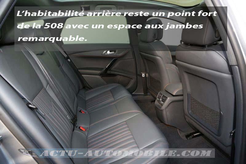 Habitabilité arrière Peugeot 508 RXH