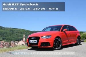 Essai nouvelle Audi RS3 Sportback