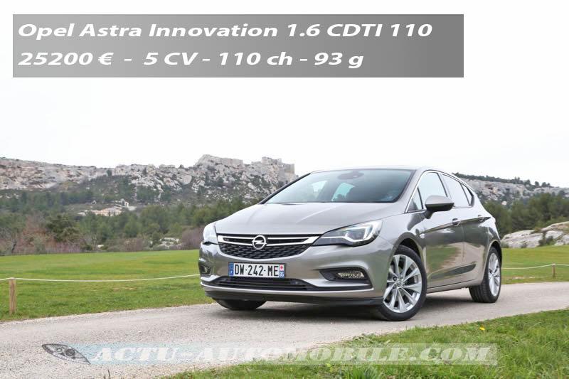 Essai nouvelle Opel Astra 1.6 CDTI 110