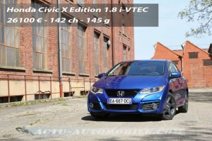 Essai Honda Civic restylée 1.8 i-VTEC 142 X Edition