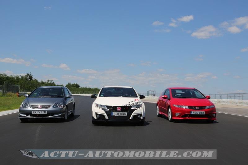 Essai de 3 générations de Honda Civic Type R sur circuit