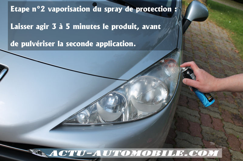 Bloc optique Kit rénovatioApplication du spray de Protection - Kit rénovation optiques - Clarté parfaite