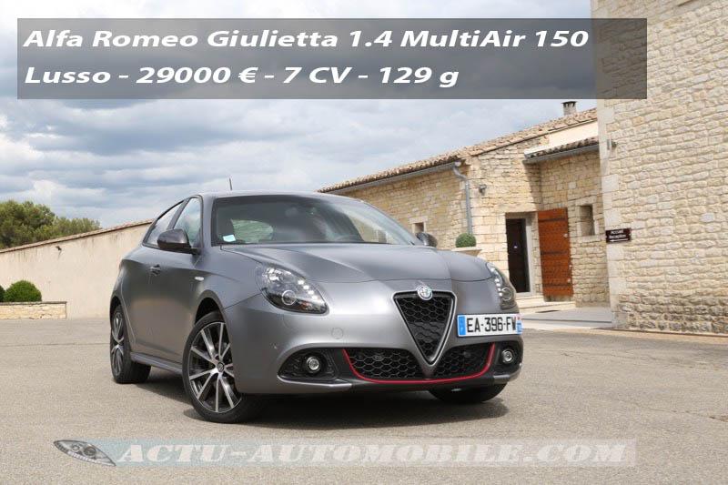 Essai Alfa Romeo Giulietta 2016 1.4 MultiAir 150 Lusso