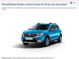 LLD : une Dacia Sandero à 3 euros par jour