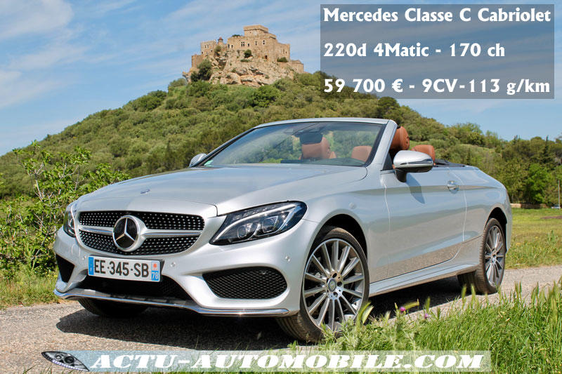essai mercedes classe c cabriolet 220d 4matic 2017. Black Bedroom Furniture Sets. Home Design Ideas