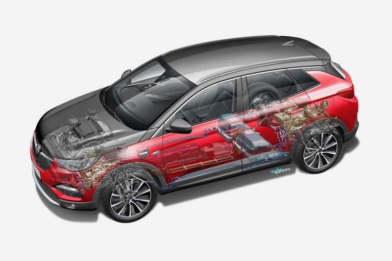 Vue en coupe de l'Opel Grandland X Hybrid4