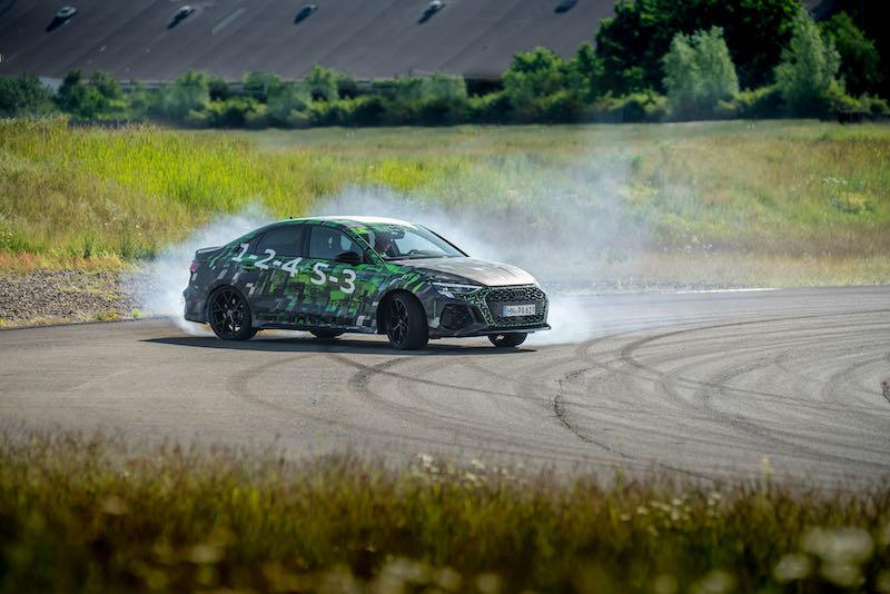 Audi RS 3 prototype en mode drift